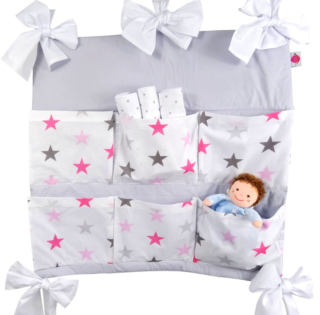 babymajawelt betttasche big stars 60x60cm f r kinderbett rosa. Black Bedroom Furniture Sets. Home Design Ideas