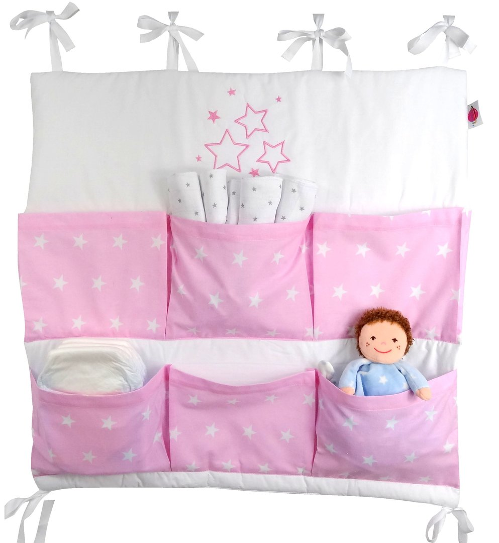 babymajawelt 15334 baby betttasche stars 60x60cm f r kinderbett rosa. Black Bedroom Furniture Sets. Home Design Ideas