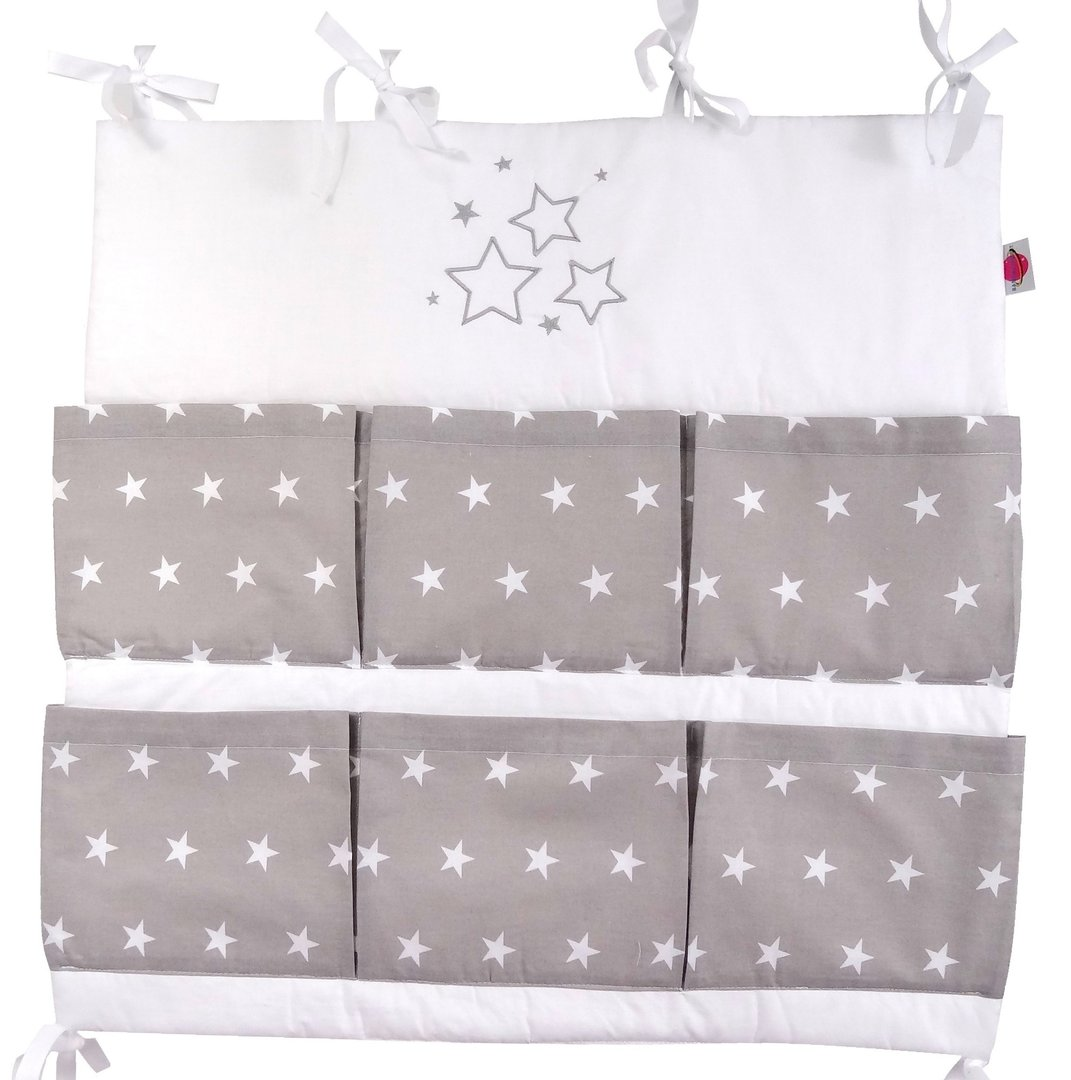 babymajawelt baby betttasche stars 60x60cm f r kinderbett grau babymajawelt. Black Bedroom Furniture Sets. Home Design Ideas