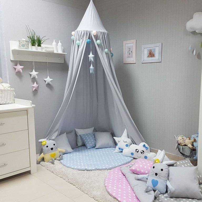 babymajawelt betthimmel baldachin grau xxl stars kinderzimmer. Black Bedroom Furniture Sets. Home Design Ideas
