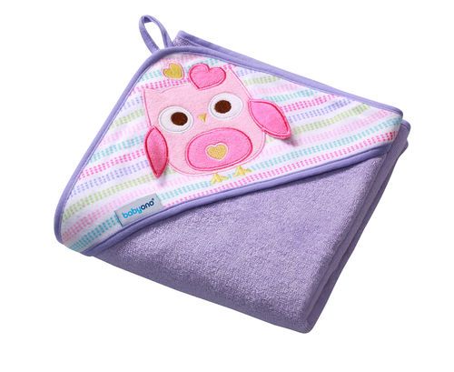 Baby / Kinder Kapuzenbadetuch FROTTEE 100x100cm (Lila / Eule)