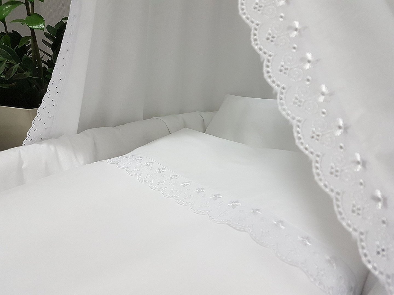 Baby Bett Set 4 Tlg Romantic Weiss 100x135 Cm Mit Spitze Top