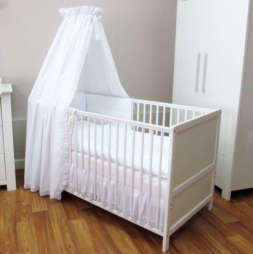 baby bett set 4 tlg romantic weiss 100x135 cm mit spitze top. Black Bedroom Furniture Sets. Home Design Ideas