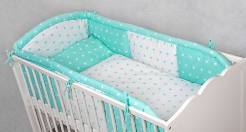 "Babymajawelt® Baby Bett SET ""LONG"" 3tlg- Bett Set 100x135 Mint"