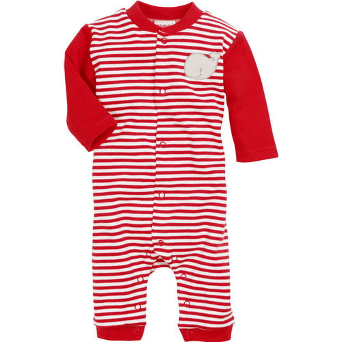 Baby Schlafstrampler rot/weiss Wal