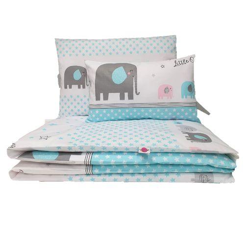 100/% Baumwolle Gr/ö/ße: 100x135 cm /ÖkoTex Standard 100 Baby Bettw/äsche Set 2tlg Elefant Gr/ün 40x60 cm